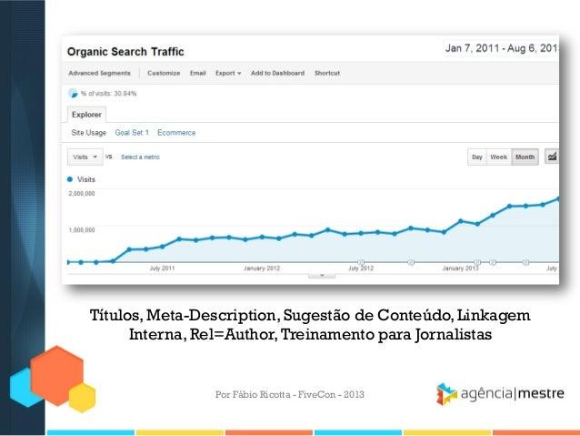 Títulos, Meta-Description, Sugestão de Conteúdo, Linkagem Interna, Rel=Author, Treinamento para Jornalistas  Por Fábio Ric...