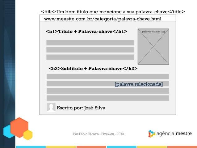 <title>Um bom título que mencione a sua palavra-chave</title> www.meusite.com.br/categoria/palavra-chave.html <h1>Título +...