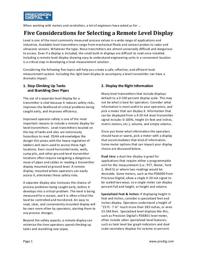 Page 1  www.predig.com  When working with meters and controllers, a lot of engineers have asked us for …  Five	Considera...