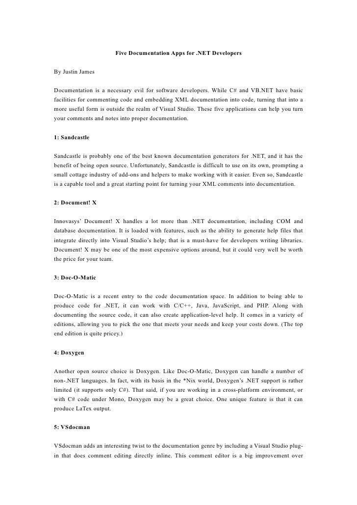 Five documentation apps for .net developers
