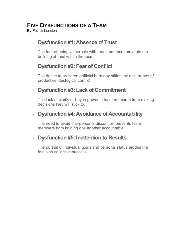 FIVE DYSFUNCTIONS OF A TEAM By Patrick Lencioni • Dysfunction #1: Absence of Trust The fear of being vulnerable with team ...