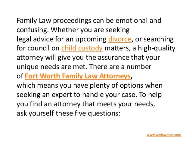 Family Law proceedings can be emotional and confusing. Whether you are seeking legal advice for an upcoming divorce, or se...