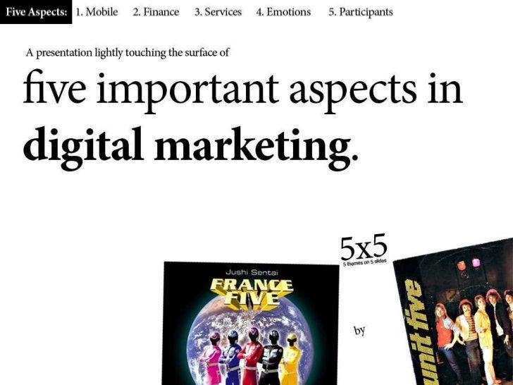 Five important aspects in digital marketing Slide 1