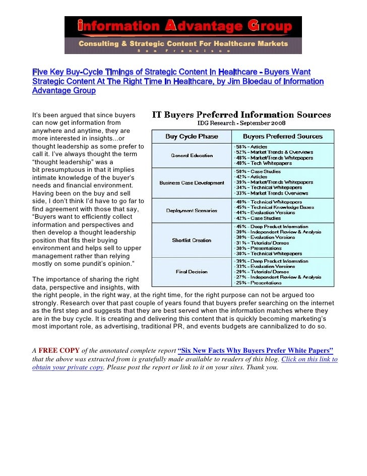 Five Key Buy-Cycle Timings of Strategic Content In Healthcare – Buyers Want Strategic Content At The Right Time In Healthc...