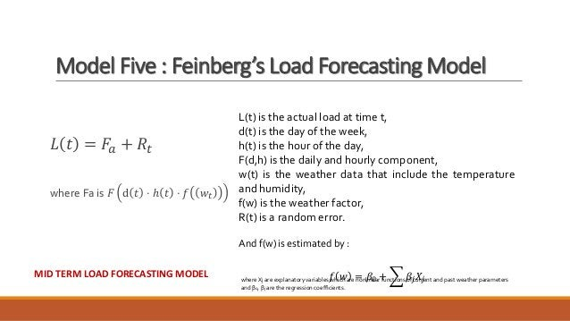 Model Five : Feinberg's Load Forecasting Model 𝐿 𝑡 = 𝐹𝑎 + 𝑅𝑡 where Fa is 𝐹 ⅆ 𝑡 ⋅ ℎ 𝑡 ⋅ 𝑓 𝑤𝑡 L(t) is the actual load at tim...