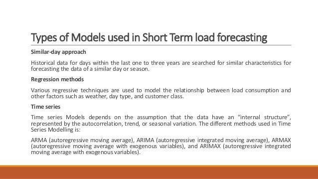 Types of Models used in Short Term load forecasting Similar-day approach Historical data for days within the last one to t...