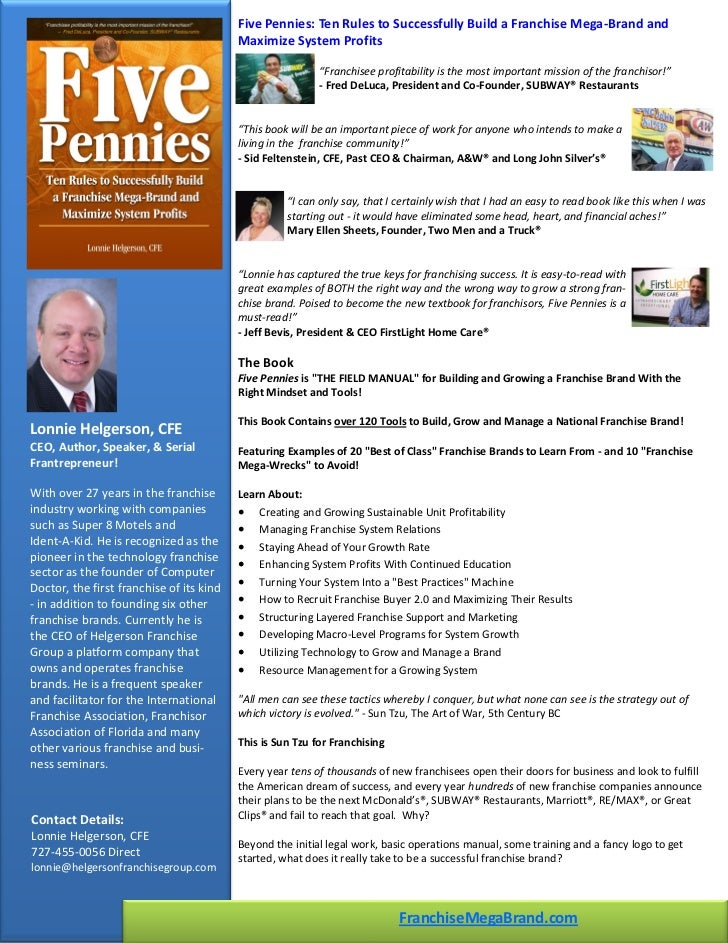 Five Pennies Ten Rules To Successfully Build A Franchise Mega Brand