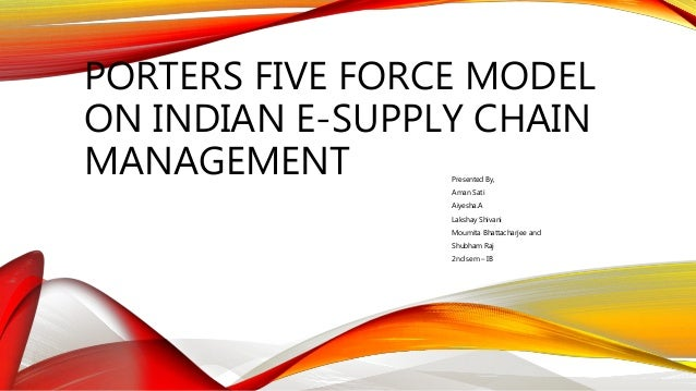 PORTERS FIVE FORCE MODEL ON INDIAN E-SUPPLY CHAIN MANAGEMENT Presented By, Aman Sati Aiyesha.A Lakshay Shivani Moumita Bha...