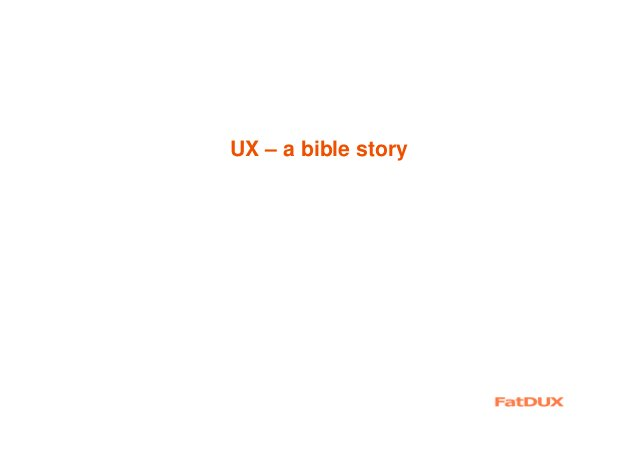 UX – a bible story