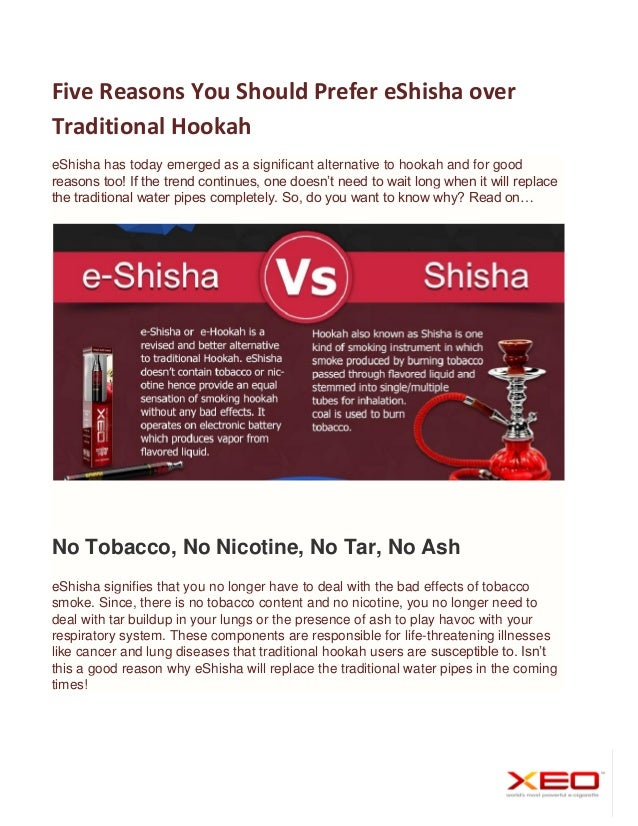 Five Reasons You Should Prefer eShisha over Traditional Hookah eShisha has today emerged as a significant alternative to h...