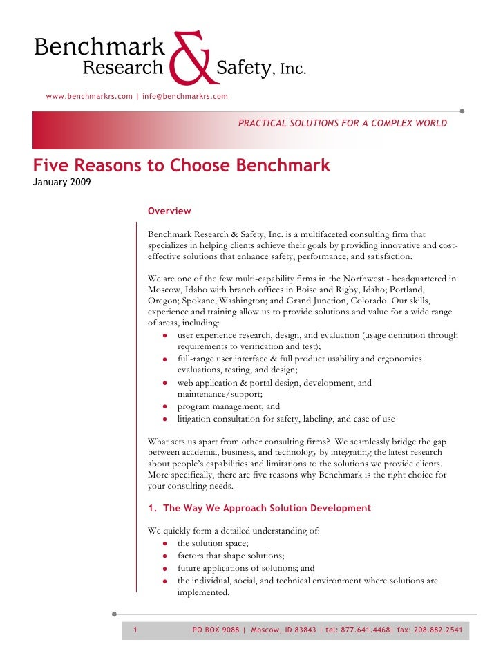 www.benchmarkrs.com | info@benchmarkrs.com                                                     PRACTICAL SOLUTIONS FOR A C...