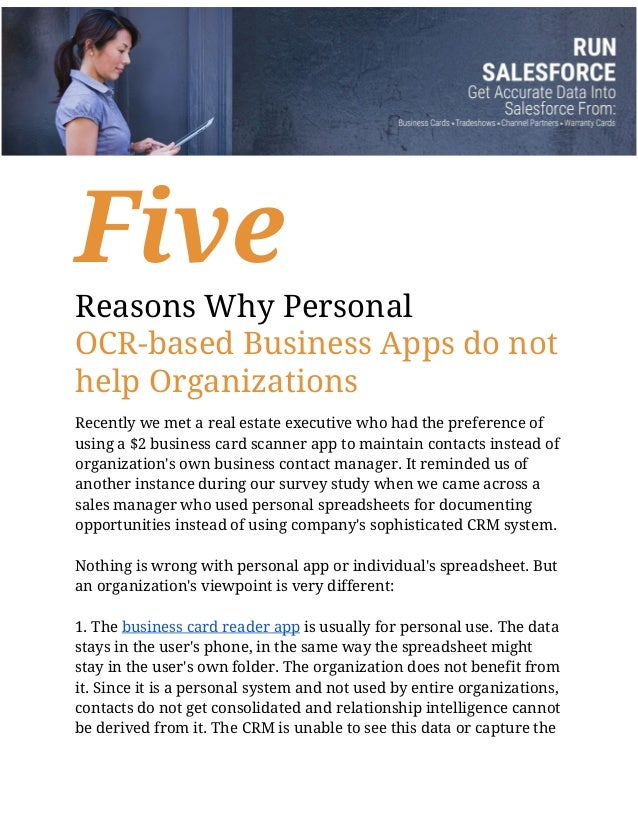Five Reasons Why Personal OCR-based Business Apps do not help Organizations Recently we met a real estate executive who ha...