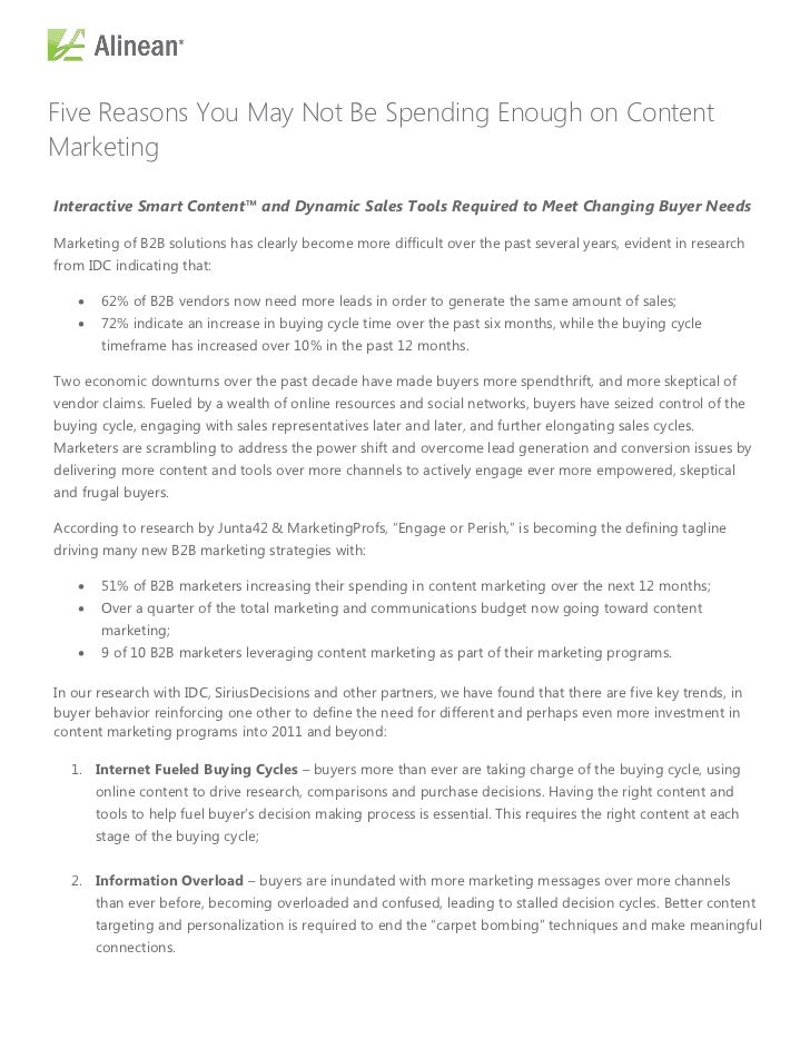 Five Reasons You May Not Be Spending Enough on ContentMarketingInteractive Smart Content™ and Dynamic Sales Tools Required...
