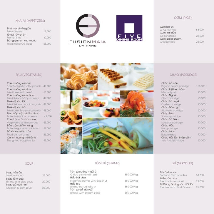 Fusion Maia Da Nang Five Restaurant Menu