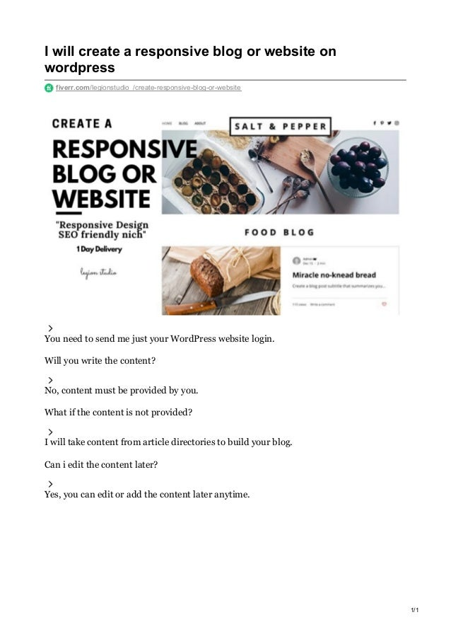 I will create a responsive blog or website on wordpress fiverr.com/legionstudio_/create-responsive-blog-or-website You nee...