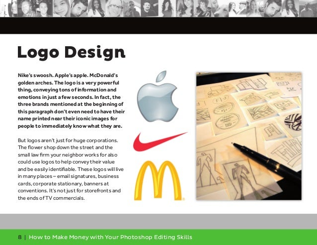 8 | How to Make Money with Your Photoshop Editing Skills Nike's swoosh. Apple's apple. McDonald's golden arches. The logo ...