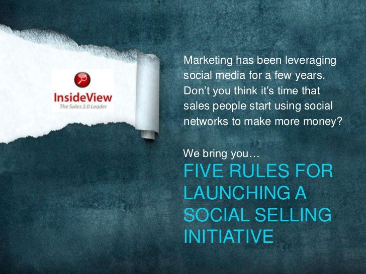 Marketing has been leveraging social media for a few years. Don't you think it's time that sales people start using social...
