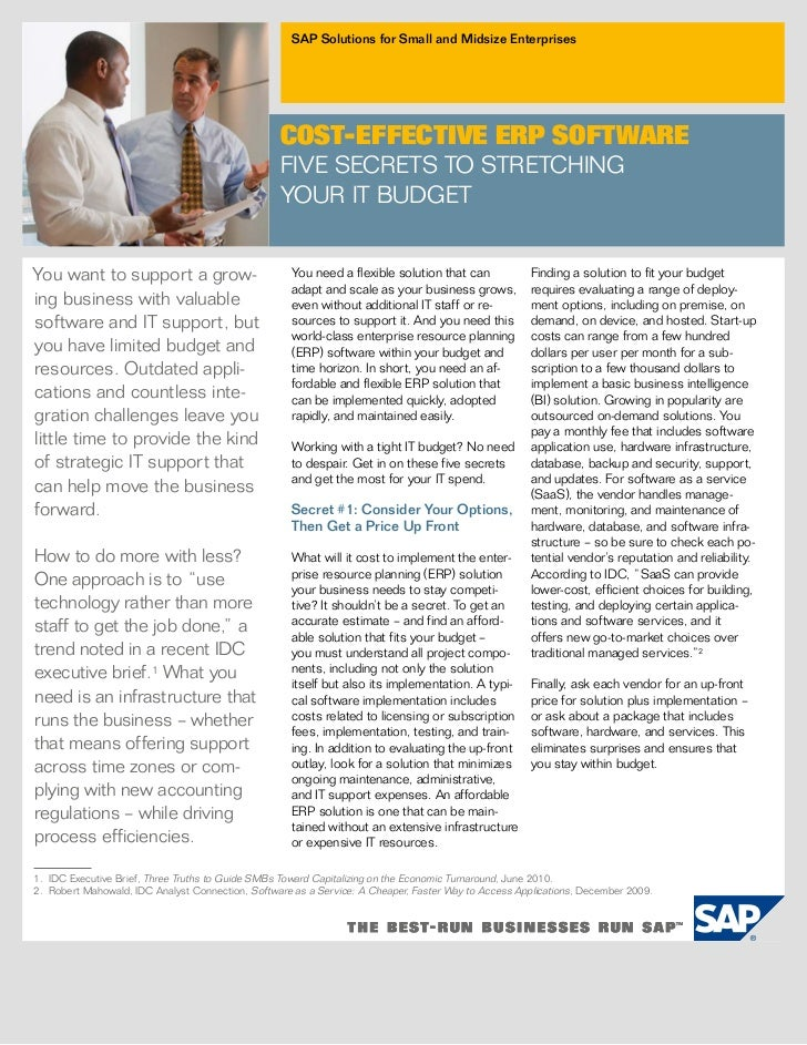 SAP Solutions for Small and Midsize Enterprises                                                  COST-EFFECTIVE ERP SOFTWA...