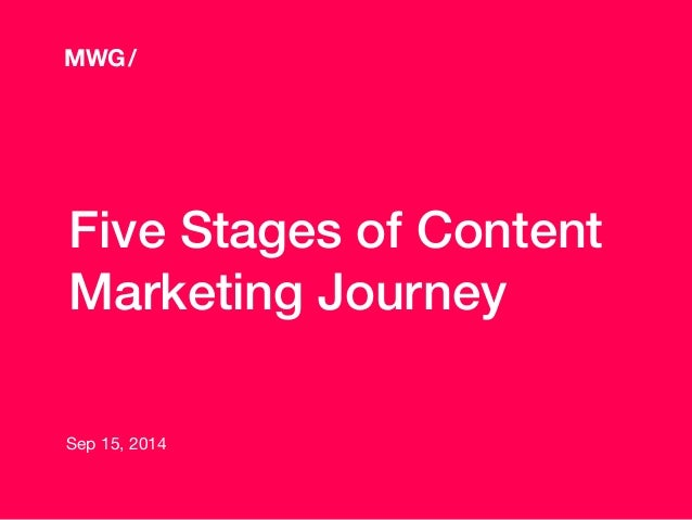 Five Stages of Content Marketing Journey Sep 15, 2014 MWG/