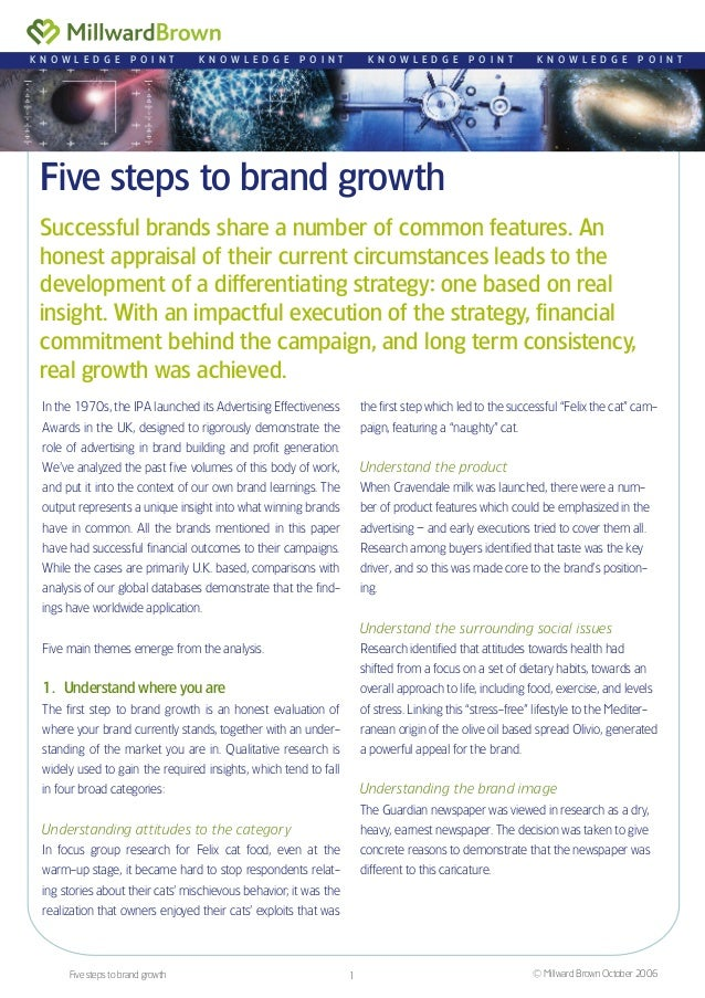 Five steps to brand growth Successful brands share a number of common features. An honest appraisal of their current circu...