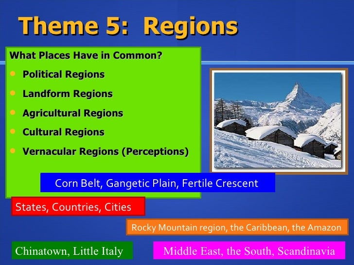 understanding the five themes of geography Themes of geography [9th grade]  world geography/ five themes  performance assessment is designed to give students a structure for understanding how the themes .
