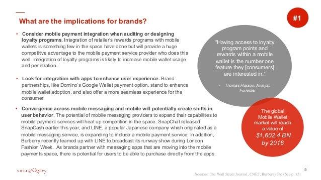 5 • Consider mobile payment integration when auditing or designing loyalty programs. Integration of retailer's rewards pr...