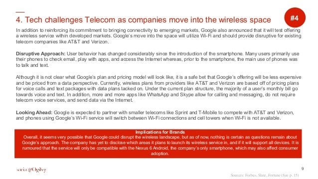 9 4. Tech challenges Telecom as companies move into the wireless space In addition to reinforcing its commitment to bringi...