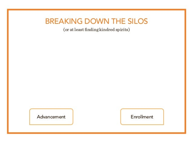 BREAKING DOWN THE SILOS (or at least finding kindred spirits) Advancement Enrollment