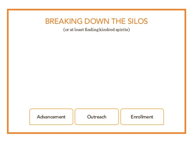 BREAKING DOWN THE SILOS (or at least finding kindred spirits) Advancement Outreach Enrollment