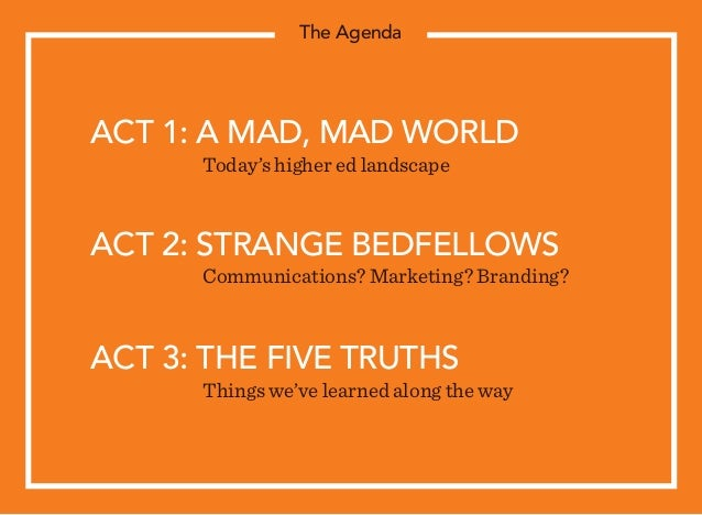 ACT 1: A MAD, MAD WORLD  Today's higher ed landscape ACT 2: STRANGE BEDFELLOWS  Communications? Marketing? Branding? ACT...