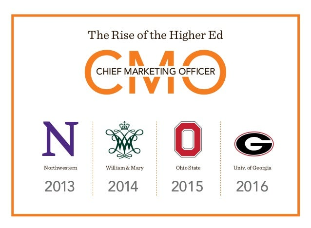 CMO The Rise of the Higher Ed CHIEF MARKETING OFFICER 2013 2014 2015 2016 Northwestern William  Mary Ohio State Univ. of G...