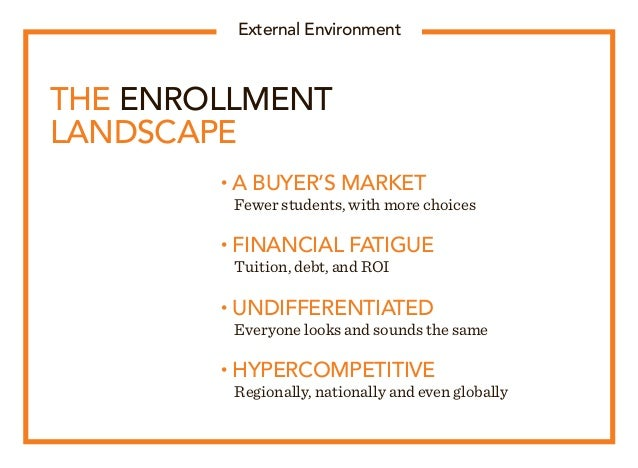 THE ENROLLMENT LANDSCAPE • A BUYER'S MARKET  Fewer students, with more choices • FINANCIAL FATIGUE  Tuition, debt, and R...