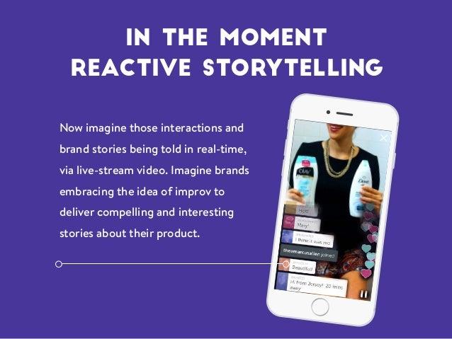 Now imagine those interactions and brand stories being told in real-time, via live-stream video. Imagine brands embracing ...
