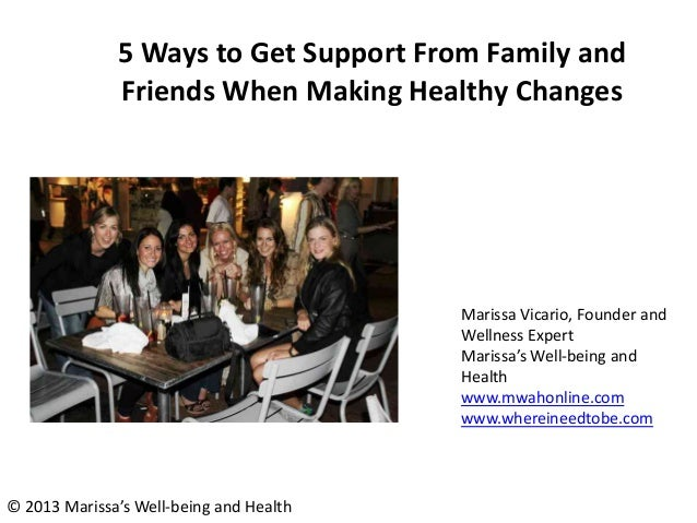 5 Ways to Get Support From Family and Friends When Making Healthy Changes Marissa Vicario, Founder and Wellness Expert Mar...