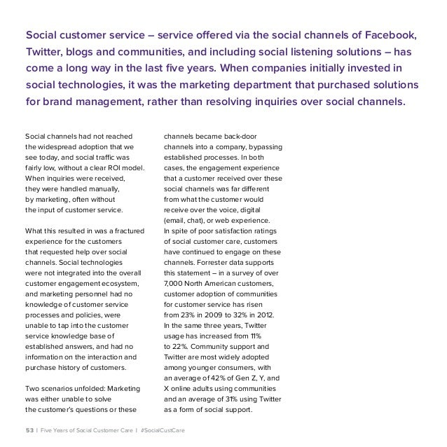 53   Five Years of Social Customer Care   #SocialCustCare Social channels had not reached the widespread adoption that we ...