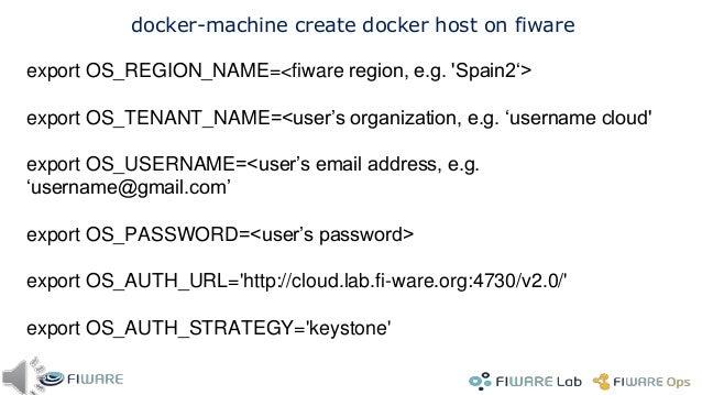 "28 Docker Swarm: create master >export OS_REGION_NAME=Spain2 >docker-machine create -d openstack --openstack-flavor-id=""2""..."