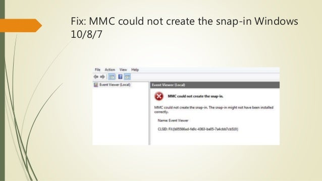 Fix: MMC could not create the snap-in because of current user policies