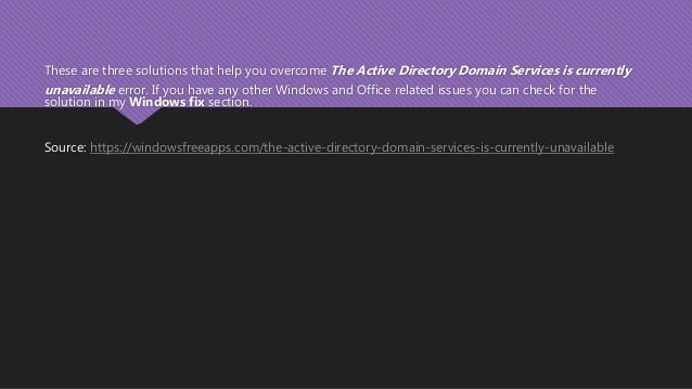 active directory domain services unavailable printer windows 10