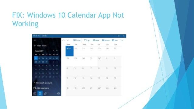 fix windows 10 calendar app not working