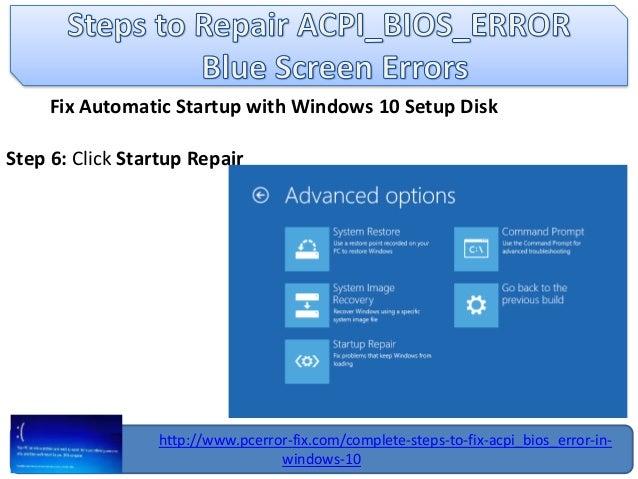 Fix acpi bios error in windows 10