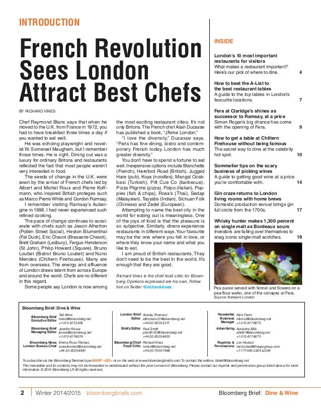 London Dine & Wine- A Bloomberg Brief Special Supplement  Slide 2