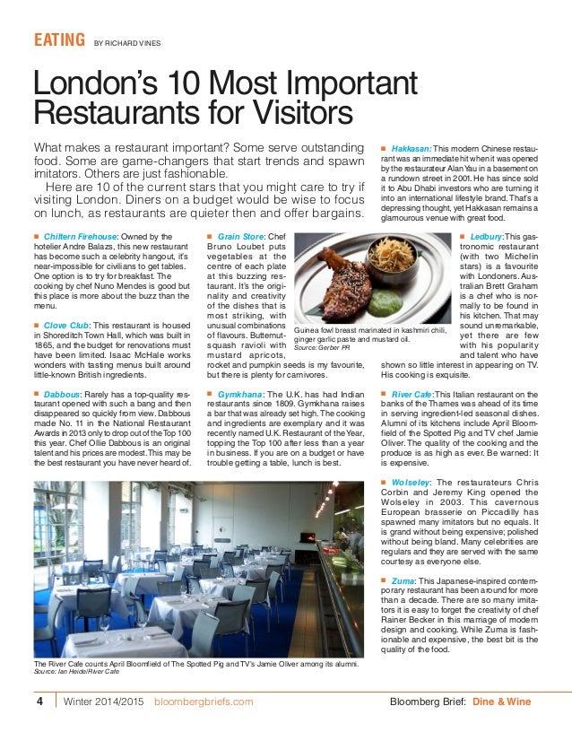 London's 10 Most Important Restaurants for Visitors EATING BY RICHARD VINES ■■ Grain Store: Chef Bruno Loubet puts vegeta...