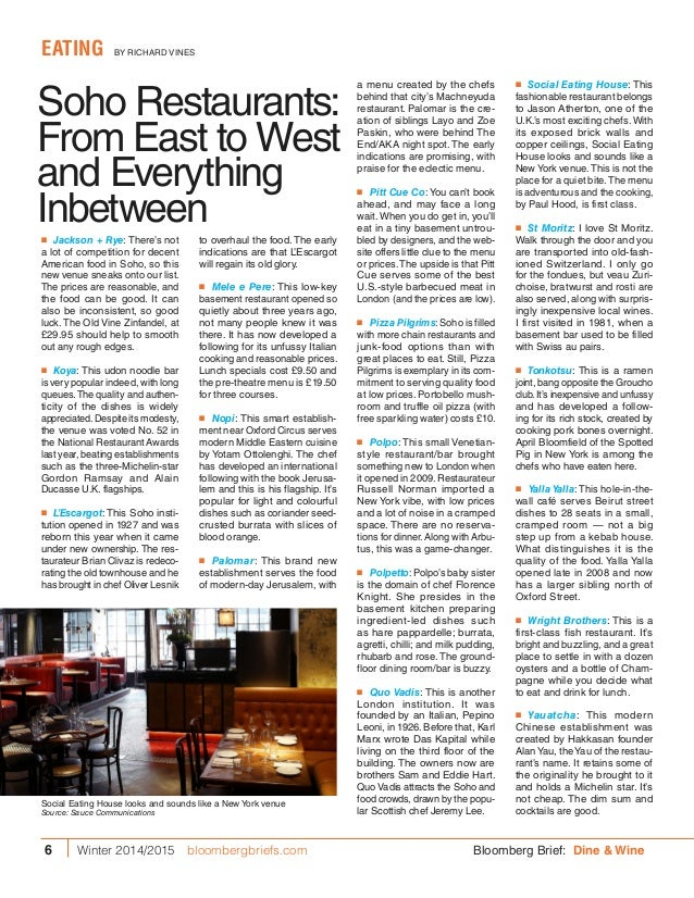 Soho Restaurants: From East to West and Everything Inbetween a menu created by the chefs behind that city's Machneyuda res...
