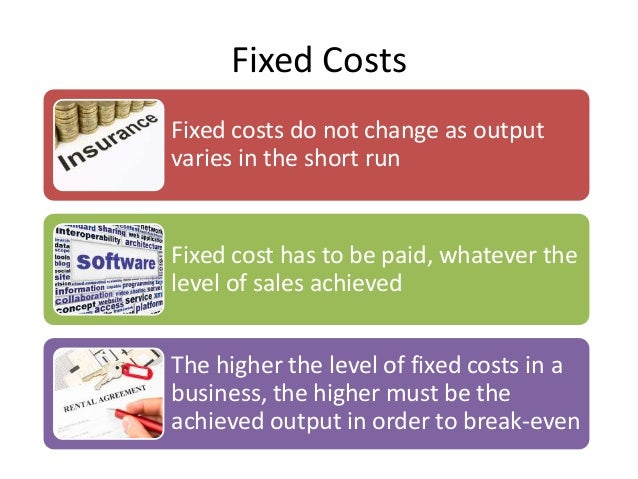 fixed costs variable costs and bep Break even point is the business volume that balances total costs with total gains at break even volume, cash inflows equal cash outflows exactly, and net cash flow equals zero.