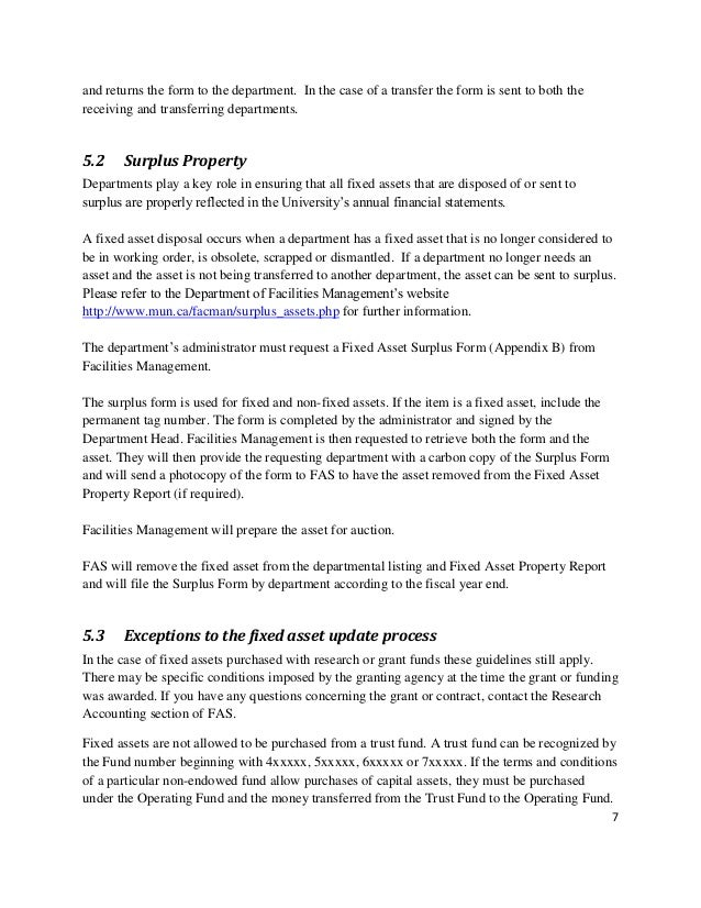 Fixed asset report – Grant Report Form