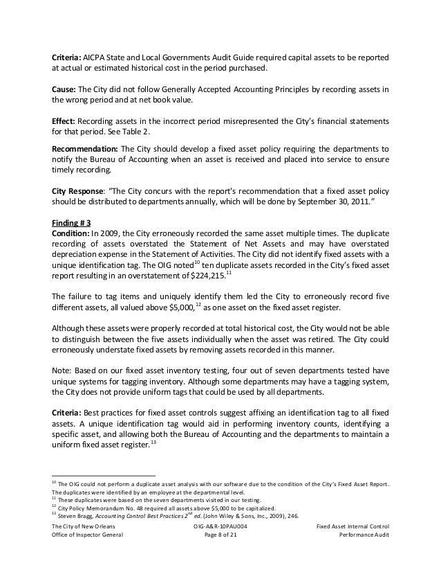 TheCityofNewOrleans OIG‐A&R‐10PAU004 FixedAssetInternalControl OfficeofInspectorGeneral Page9of21 Per...