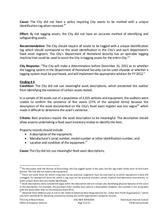 TheCityofNewOrleans OIG‐A&R‐10PAU004 FixedAssetInternalControl OfficeofInspectorGeneral Page10of21 Pe...