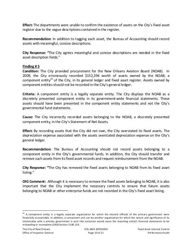 TheCityofNewOrleans OIG‐A&R‐10PAU004 FixedAssetInternalControl OfficeofInspectorGeneral Page11of21 Pe...