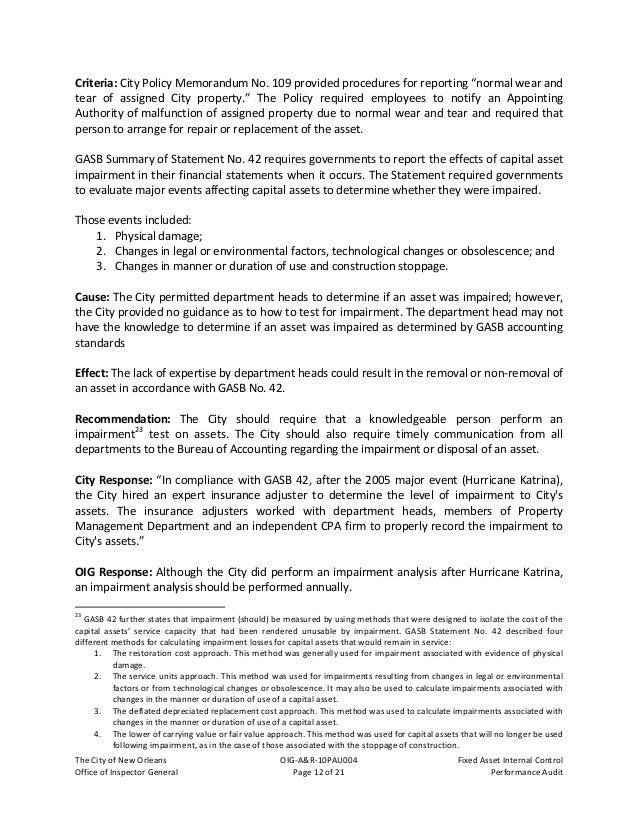 TheCityofNewOrleans OIG‐A&R‐10PAU004 FixedAssetInternalControl OfficeofInspectorGeneral Page13of21 Pe...
