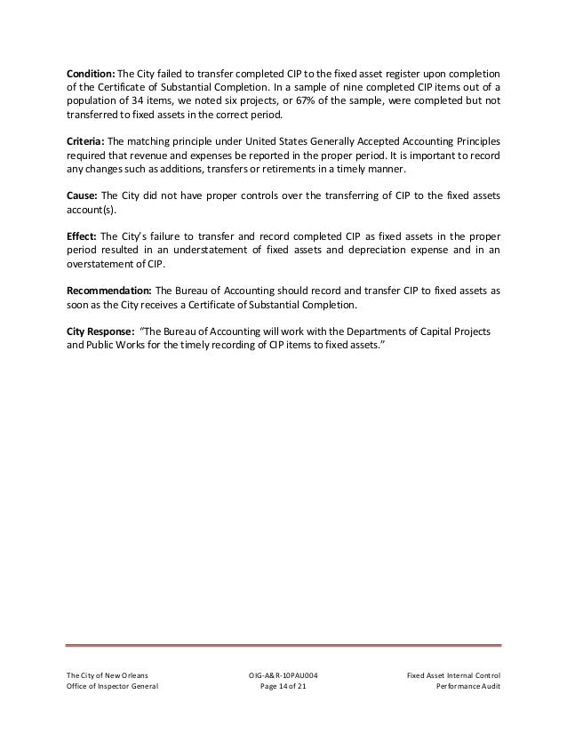 TheCityofNewOrleans OIG‐A&R‐10PAU004 FixedAssetInternalControl OfficeofInspectorGeneral Page15of21 Pe...